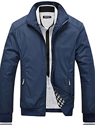cheap -Men's Long Sleeve Jacket,Cotton / Acrylic / Polyester Casual Solid / Patchwork 916173