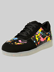 Women's Men's Spring Summer Fall Light Up Shoes Leatherette Outdoor Casual Athletic Flat Heel Lace-up Black