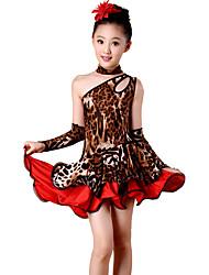 Shall We Latin Dance Dresses Children Performance Spandex / Polyester Leopard Off Shoulder Dance Costumes