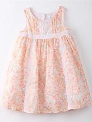 abordables -Robe Fille Fleur Coton Eté Fleur Orange