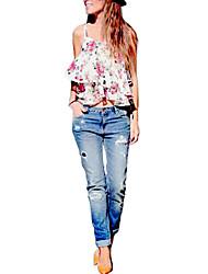 preiswerte -Damen Tank Tops, Gurt Ausgehöhlt Druck Leinen Polyester
