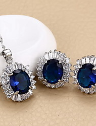 cheap -Women's Jewelry Set AAA Cubic Zirconia Vintage Cute Party Casual European Wedding Party Daily Casual Zircon Cubic Zirconia Oval Earrings