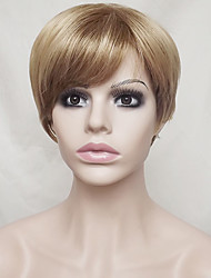 cheap -Synthetic Wig Straight Blonde Layered Haircut / With Bangs Synthetic Hair Natural Hairline Blonde Wig Women's Short Capless