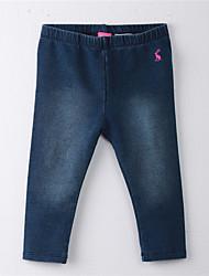 abordables -Pantalones Chica Un Color Algodón Verano Dibujos Azul