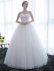 cheap -Ball Gown Illusion Neckline Floor Length Satin Lace Over Tulle Custom Wedding Dresses with Lace by Embroidered Bridal
