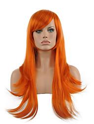 economico -Donna Parrucche sintetiche Lungo Dritto Arancione Parrucca di Halloween Parrucca di carnevale Parrucca per travestimenti