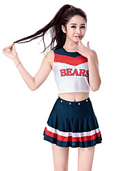 cheap -Cheerleader Costumes Outfits Women's Performance Cotton Polyester Ruffles Sleeveless High Top Skirt