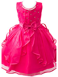 cheap -Kids Toddler Girls' Sweet Party Beaded Bow Sleeveless Dress