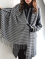 cheap -Classic Houndstooth Thick Warm Wool Scarves Long Wide Black And White Plaid Shawl