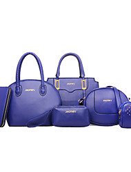 economico -Da donna Sacchetti PU (Poliuretano) Set di borsa da 6 pezzi per Blu Bianco Nero Viola Fucsia