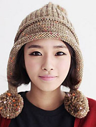 cheap -Women Knitwear Korean Cute Balls Wool Knit Hat