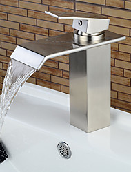 cheap -Bathroom Sink Faucets Contemporary Nickel Brushed Waterfall