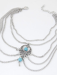 cheap -Women's New European Style Fashion Simple Retro Blue Water Droplets Bead Anklets Arm Chain