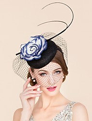 cheap -Flax / Silk Hats / Birdcage Veils with Flower 1pc Wedding / Special Occasion / Casual Headpiece