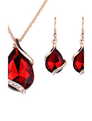 cheap -Women's Crystal Rose Gold Crystal Rhinestone Jewelry Set Earrings Necklace - Fashion Drop Red Green Blue Jewelry Set Drop Earrings