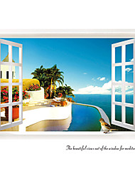 cheap -Mediterranean Scenery Window Wall Stickers Fashion Living Room Seaside Wall Decals Home And Garden
