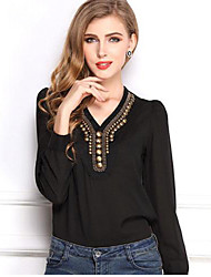 cheap -Women's Sexy/Casual Micro-elastic Short Sleeve Regular Blouse (Chiffon/Polyester)