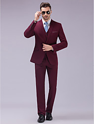 cheap -Burgundy Slim Fit Suit - Slim Notch Single Breasted One-button