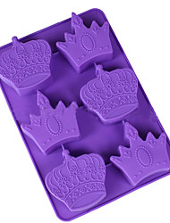 cheap -6 Hole Silicone Crown Cake Chocolate Soap Pudding Jelly Candy Ice Cookie Biscuit Mould Pan Random Color