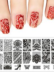 cheap -fashion women nail polish scraper art lace stamping image plates set manicure stencil tool
