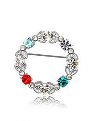High Quality Crystal Circle Brooch for Wedding Party Lady