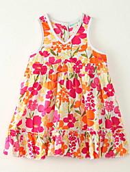 Robe Fille de Imprimé Sortie Polyester Eté Orange