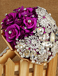 "cheap -Wedding Flowers Bouquets Wedding Rhinestone Silk Metal Satin 9.06""(Approx.23cm)"