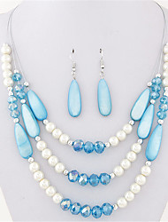 cheap -Women's Crystal Pearl Jewelry Set Earrings / Necklace - Party / Work / Casual Green / Blue / Rainbow Necklace / Earrings For Party /