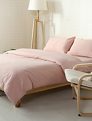 cheap -Pink Washed Cotton Bedding Sets Queen King Size Bedlinens 4pcs Duvet Cover Set