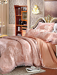 Jade Queen King Size Bedding Set Luxury Silk Cotton Blend Lace Duvet Cover Sets Jacquard Pattern