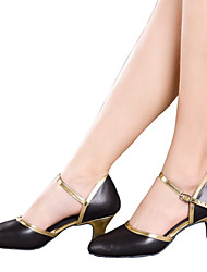 cheap -Women's Dance Shoes Belly / Latin / Dance Sneakers / Modern / Swing Shoes / Salsa / Leather Cuban Heel Black / Gold