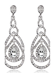 cheap -4 Color Available Drops Shape Cubic Zrconia Crystal Drop Earrings Jewelry for Lady(2.2*6.3cm)