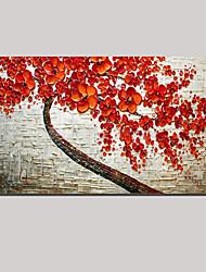 esticado (pronto para pendurar) pintura a óleo da árvore da flor de cerejeira paisagem vermelha pintada à mão da arte da parede da vida