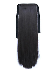 Black Length 60CM Synthetic Bind Type Long Straight Hair Wig Horsetail(Color 99J)