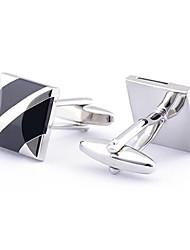 cheap -Men's Fashion Black Print Silver Alloy French Shirt Cufflinks (1-Pair) Christmas Gifts