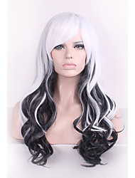 cheap -Best-selling Europe And The United States Long Curly Wig Mixed Black And White Color Hair Wig