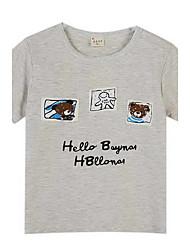 abordables -Tee-shirts Garçon Sortie Polyester Eté Manches Courtes Blanc Gris
