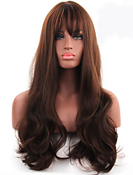 cheap -Synthetic Wig Wavy With Bangs Middle Part Brown Women's Capless Carnival Wig Halloween Wig Long Synthetic Hair