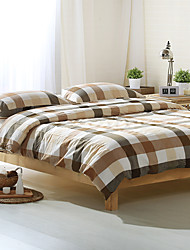 cheap -Gray and white plaid Washed Cotton Bedding Sets Queen King Size Bedlinens 4pcs Duvet Cover Set