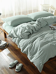 Plaid Washed Cotton Bedding Sets Queen King Size Bedlinens 4pcs Duvet Cover Set