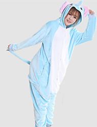 baratos -Adulto Pijamas Kigurumi Elefante Pijamas Macacão Ocasiões Especiais Velocino de Coral Azul Cosplay Para Pijamas Animais desenho animado Dia das Bruxas Festival / Celebração / Natal