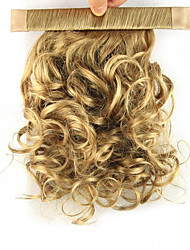 cheap -Clip In Curly Ponytails Elastic Wrap Around Synthetic Hair Piece Hair Extension 12 inch Golden