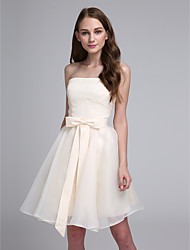 A-Line Sweetheart Knee Length Chiffon Bridesmaid Dress with Bow by Yaying