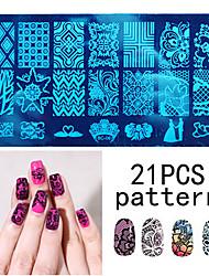 10PCS Nail Art Seal Template Nail Lace Pattren Give 1 Set Seal Tool 12x6CM