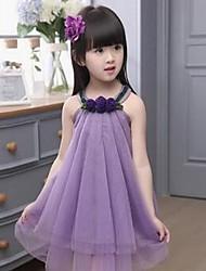 Недорогие -Девичий Платье На каждый день Хлопок Однотонный Лето Без рукавов