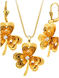 Three Leaf flower Necklace Earring Jewelry Set 18K Gold Plated Gift Party Charm Necklace Set For Women S20178