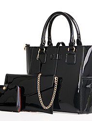 Women Patent Leather Casual Office & Career Tote Amethyst Ruby Black Pool