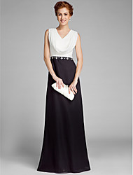 cheap -Sheath / Column V-neck Floor Length Chiffon Mother of the Bride Dress with Crystal Detailing by LAN TING BRIDE®