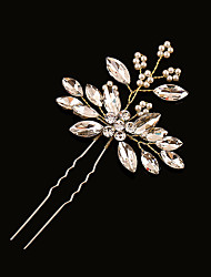 cheap -Brass Imitation Pearl Rhinestone Hair Pin 1 Wedding Headpiece