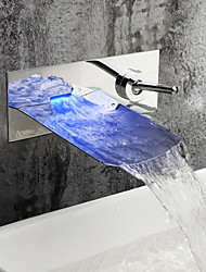 Contemporary Wall Mounted Waterfall LED Ceramic Valve Two Holes Single Handle Two Holes Chrome , Bathroom Sink Faucet
